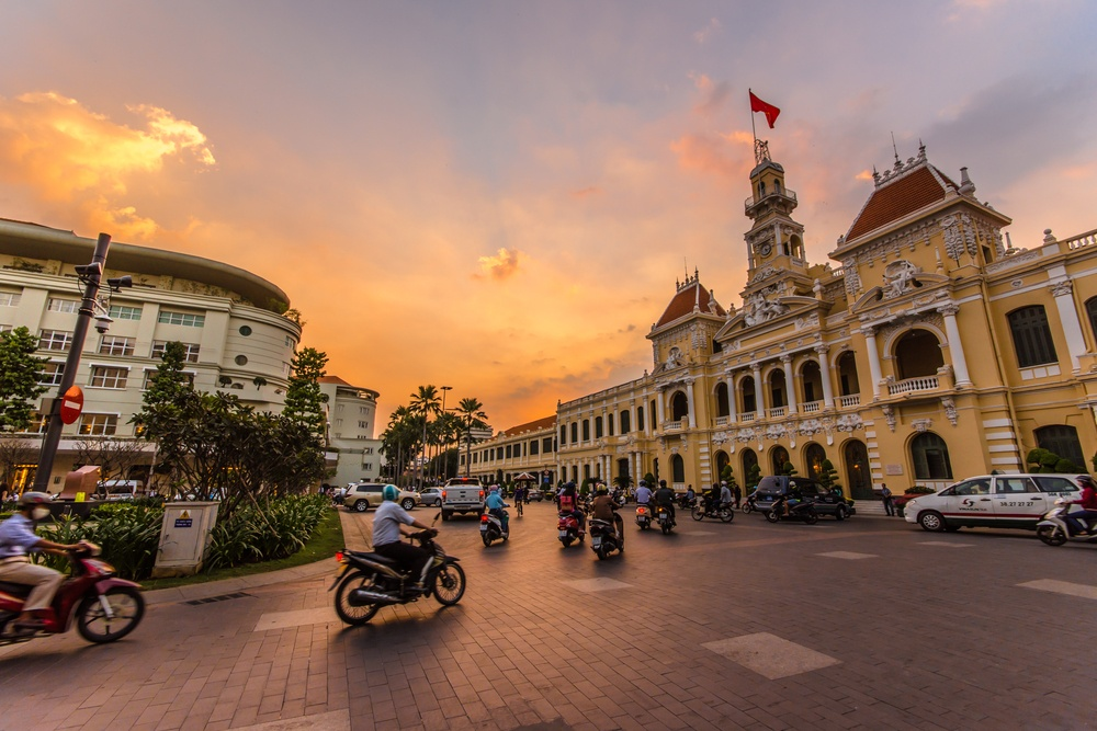 street scene in Ho Chi Minh during the sunset