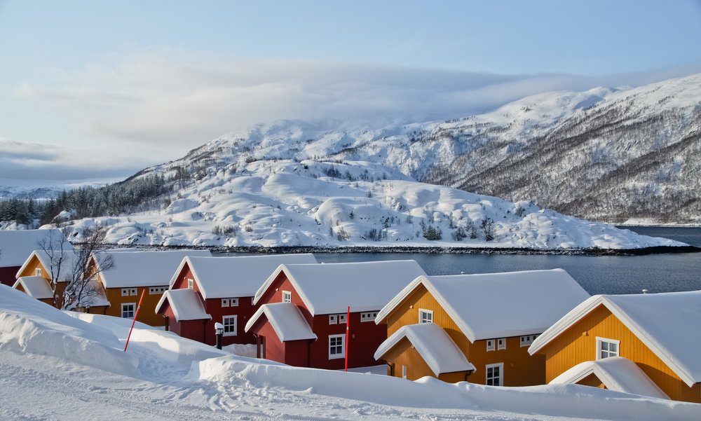 Colorful houses in Iceland covered in snow