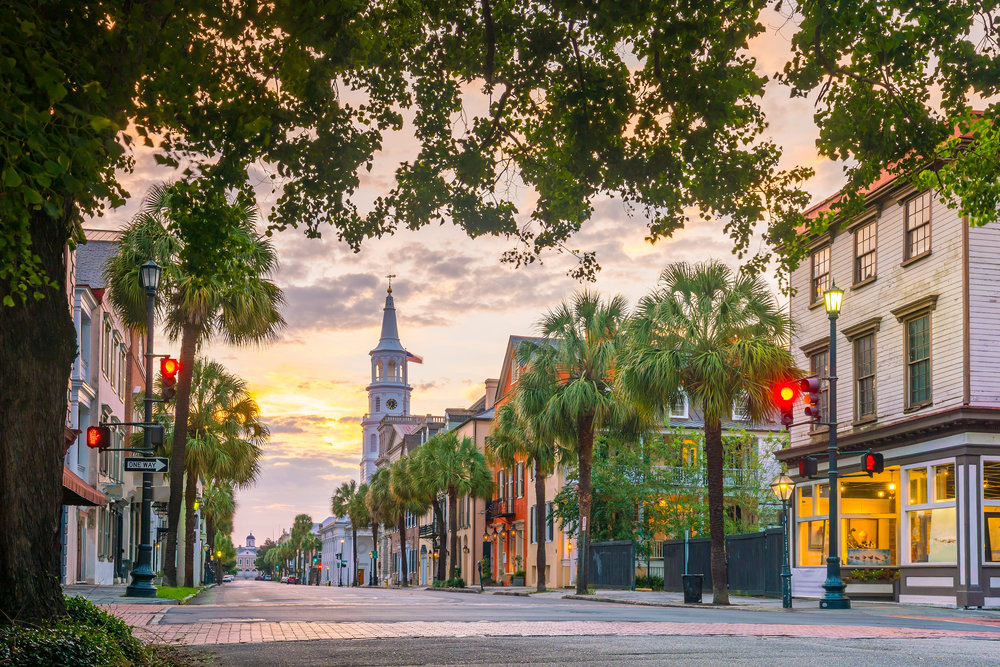 nice sunset lighting on a street in Charleston South Carolina