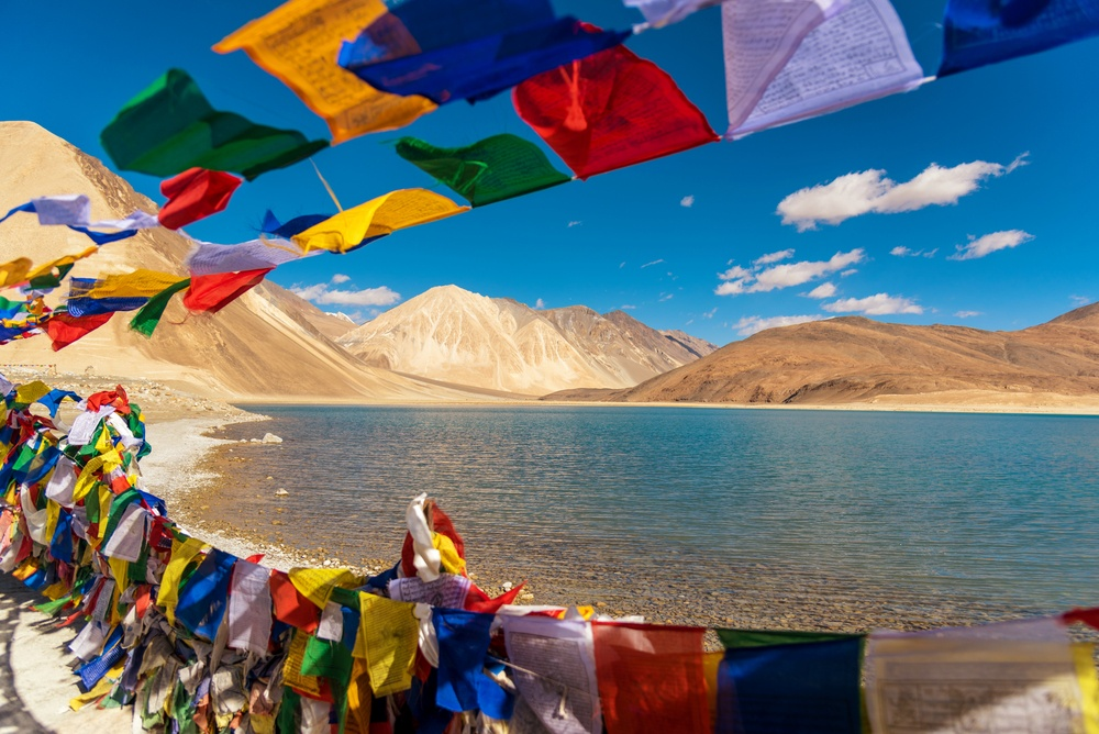 amazing scenery on the lake between the mountains in Ladakh India