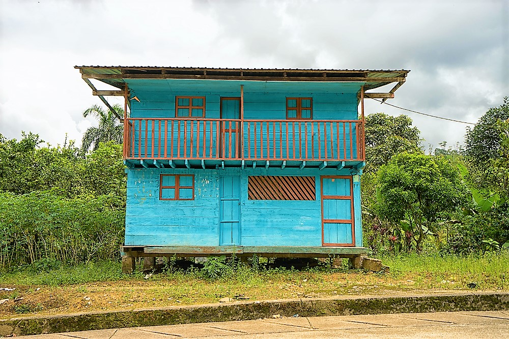 colorful shack in the jungle of ecuador
