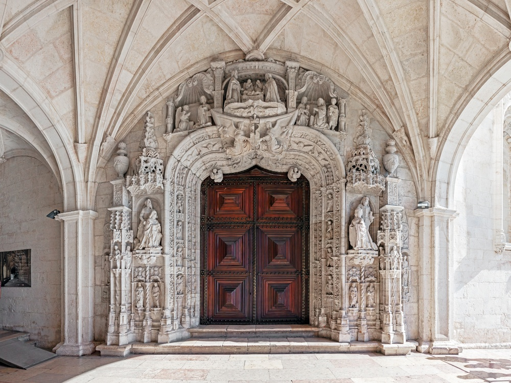 artistic door to Jeronimis monastery in Lisbon, Portugal