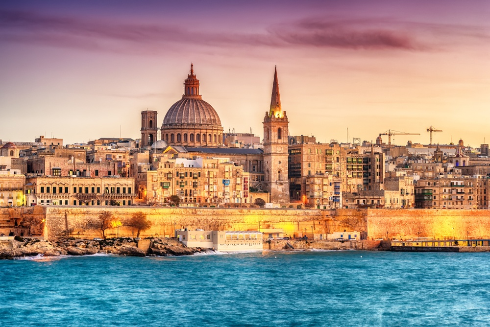 sunset shot of valletta from the water