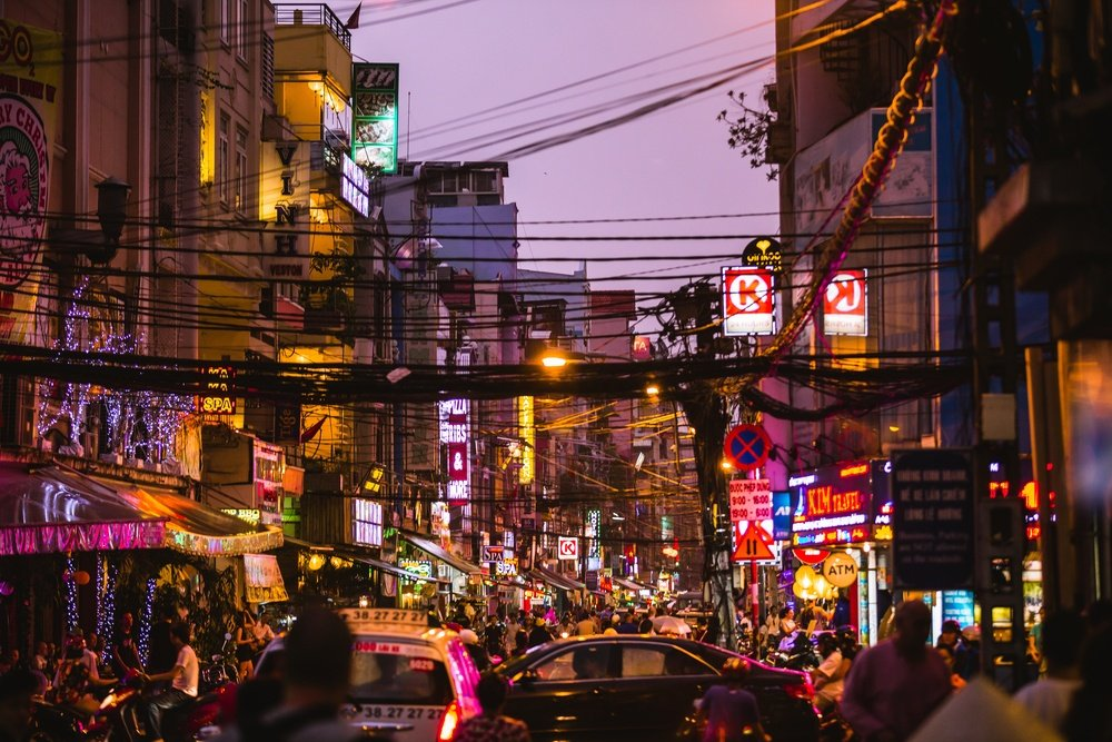 vibrant nightlife in ho chi minh on the street