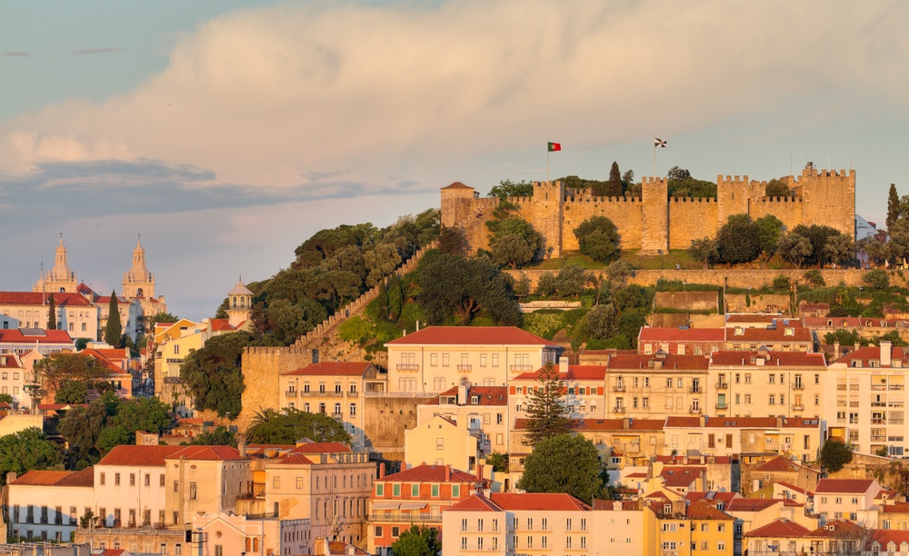 Castelo de Sao Jorge in the sunset light in Lisbon, Portugal