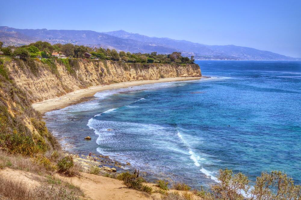 scenic coastline on the ocean in Point Dume, Malibu