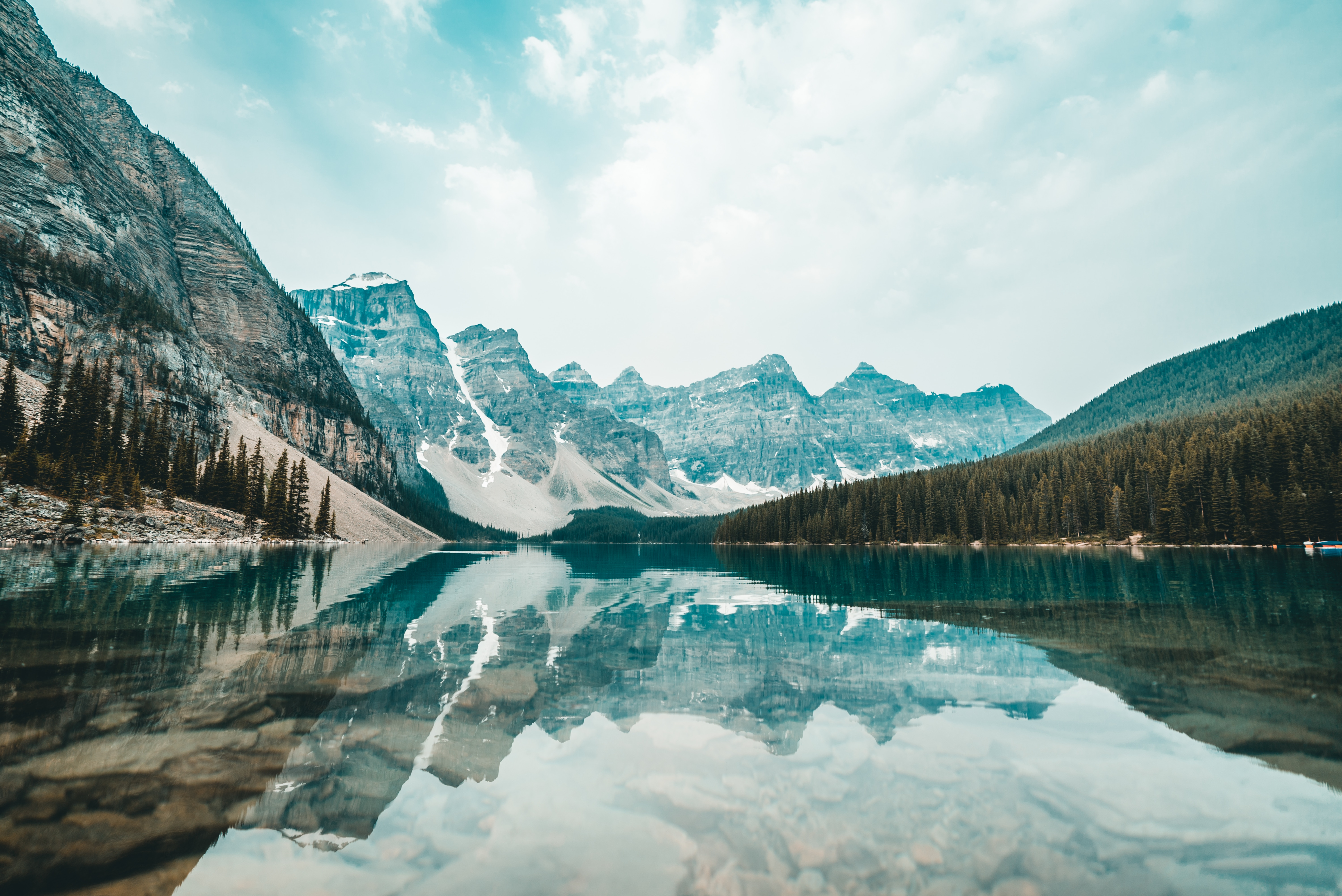 Reflective mountain view lake, Moraine Lake, Canada