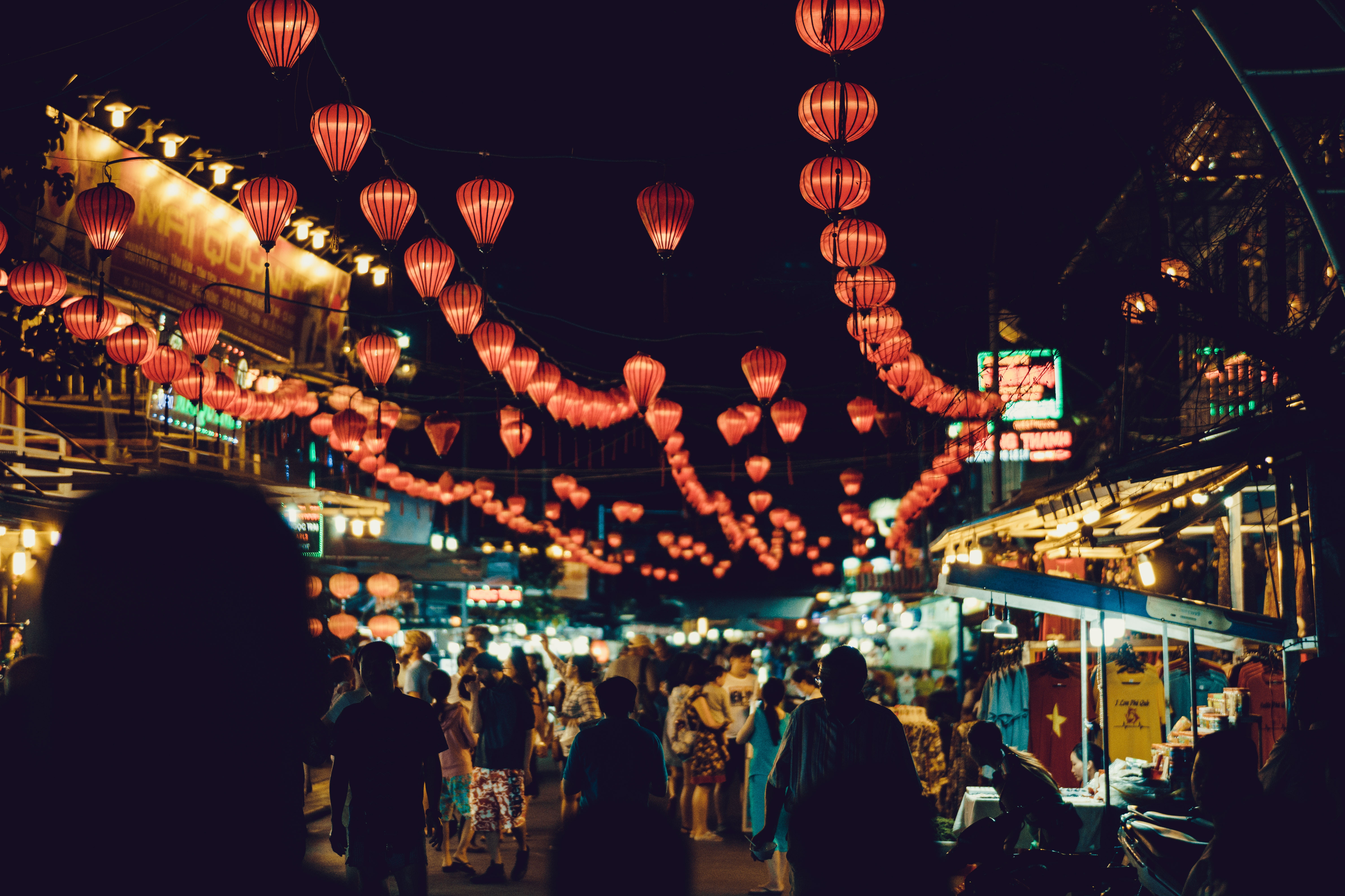 hanging lights and nightlife in Vietnam