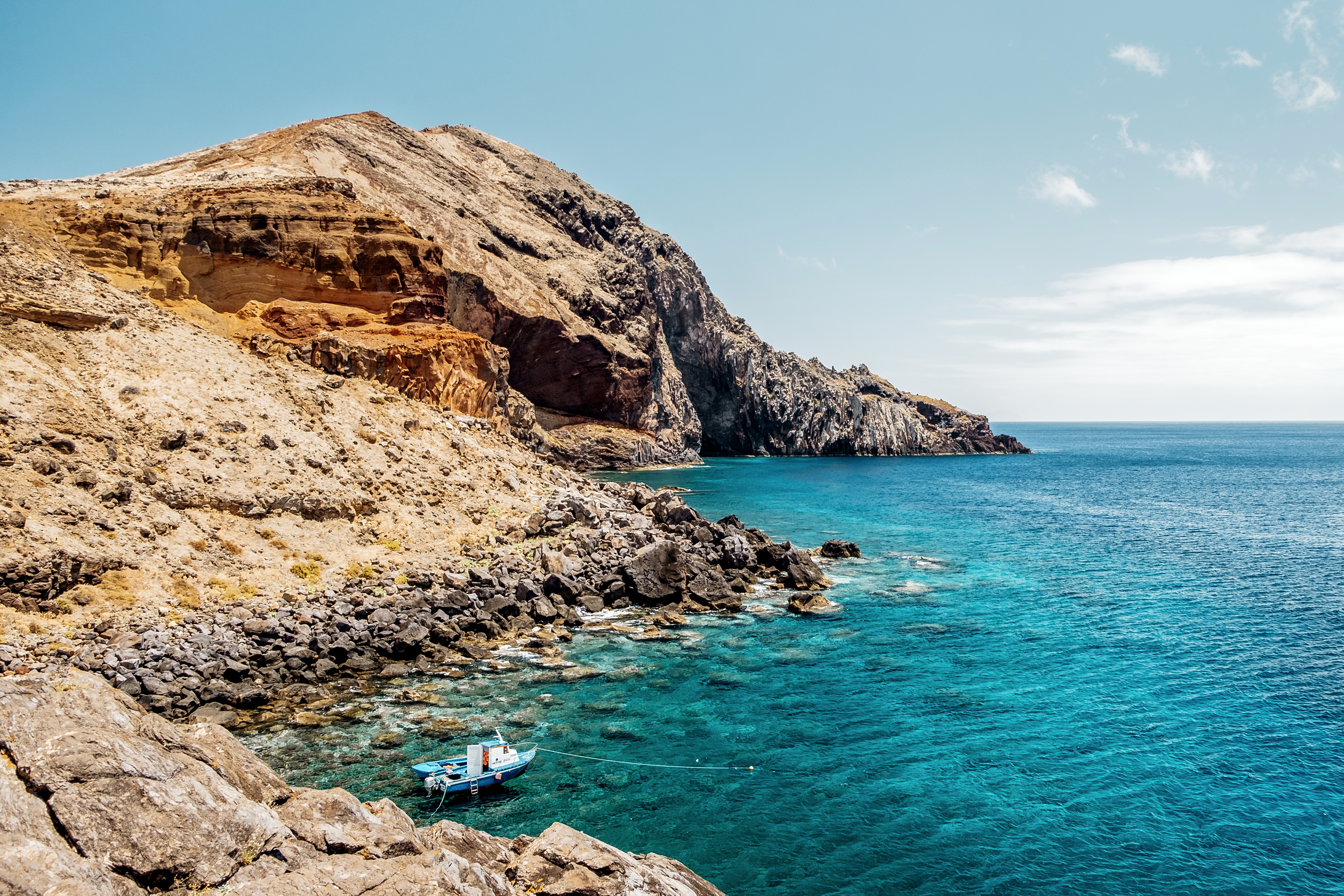 Beautiful coast of the island of Madeira Portugal with cliffs