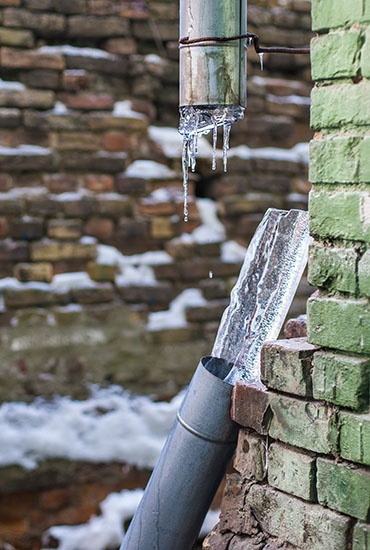 A frozen and broken pipe