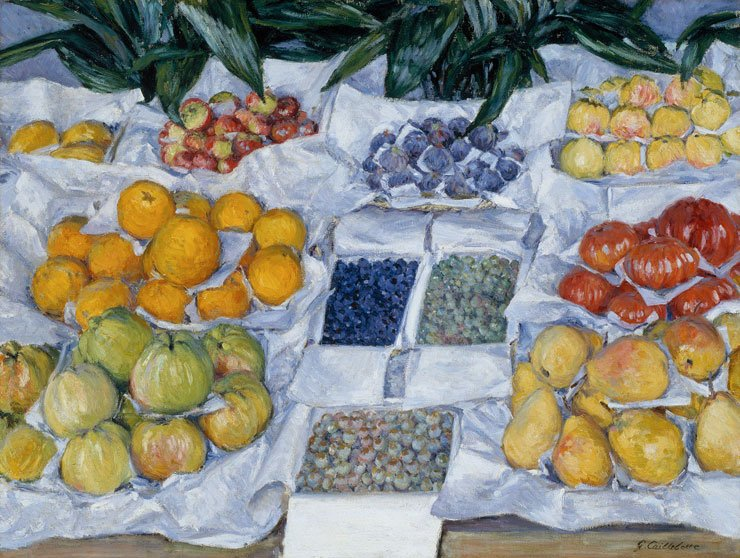 Caillebotte-Fruit-Displayed-on-Stand