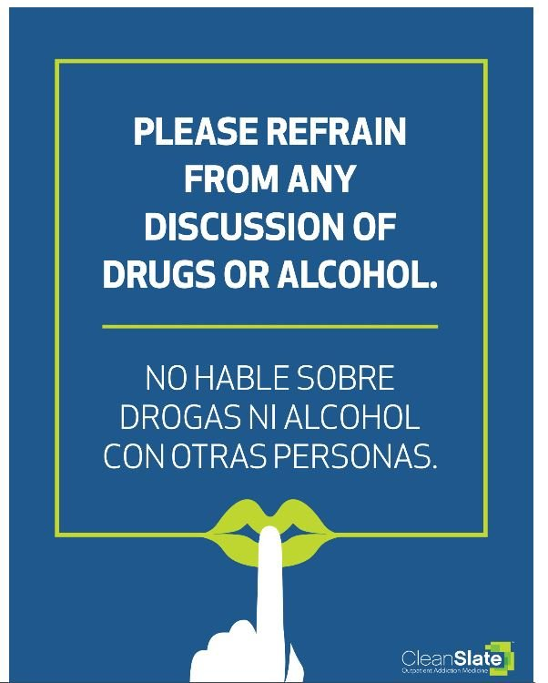 No discussion of drugs or alcohol