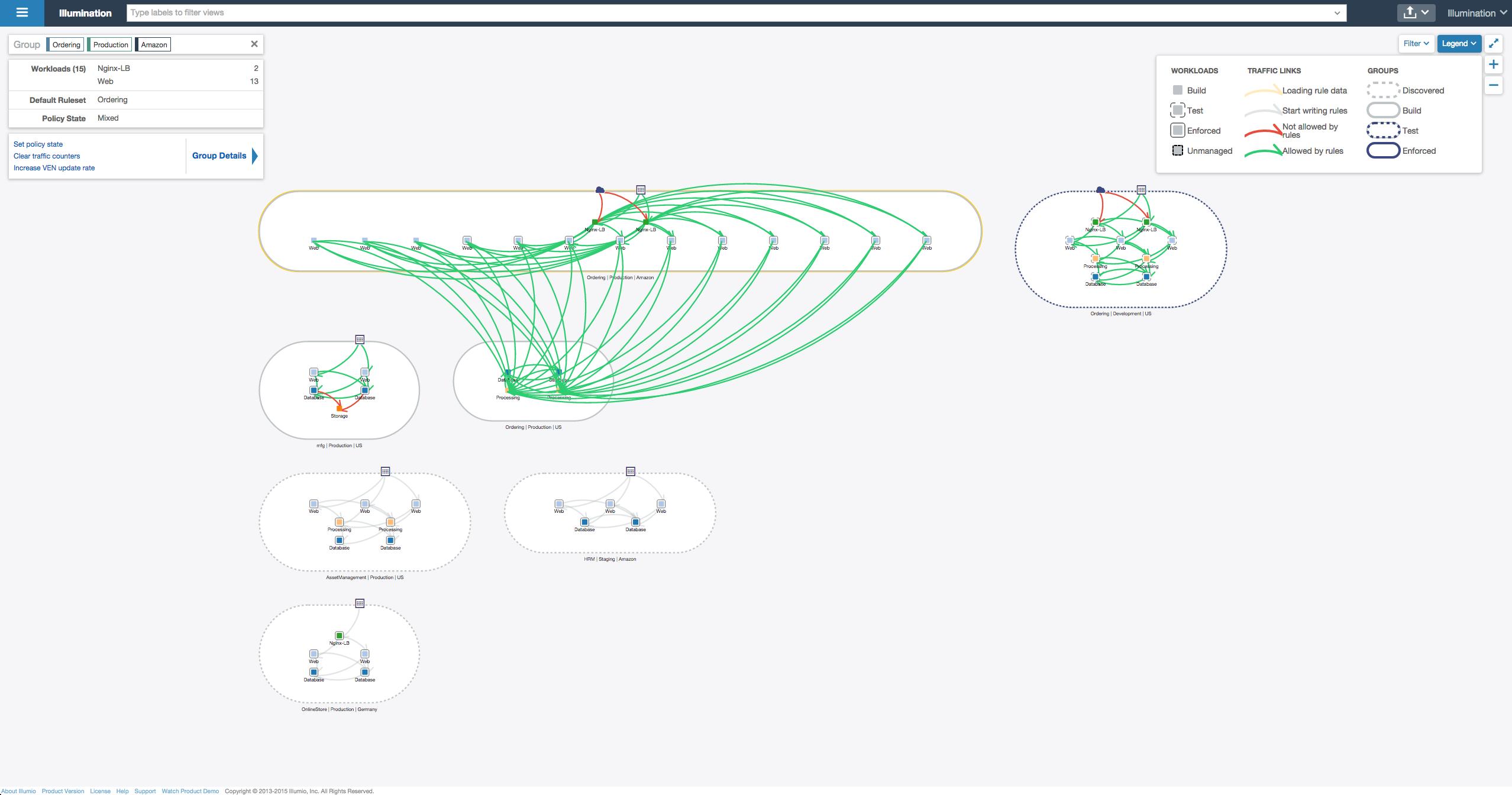 Interactive map screenshot within Illumio Illumination