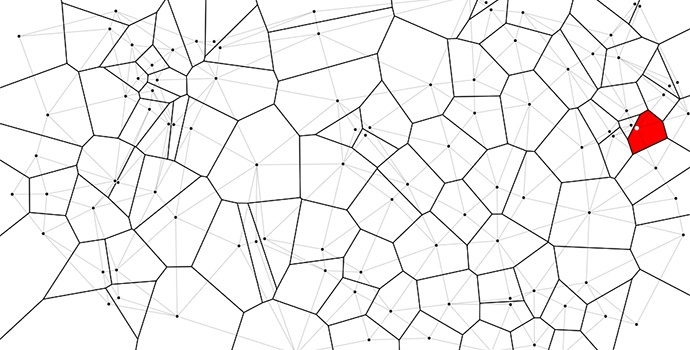 Mike Bostock's example of a Voroni Tessellation