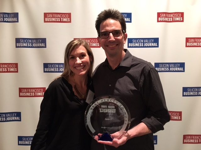 Illumio's Emily Couey and Dan Cook receive the company's Best Places to Work award