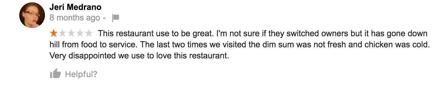 bad restaurant review