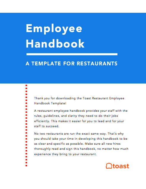 restaurant employee handbook template free toast. Black Bedroom Furniture Sets. Home Design Ideas