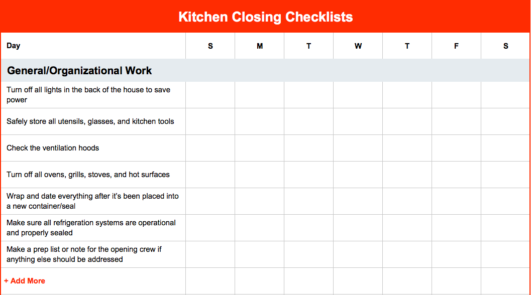 how to create kitchen opening and closing checklists