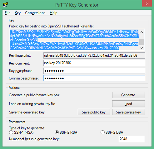 Generating an SSH Key Pair Using the PuTTYgen