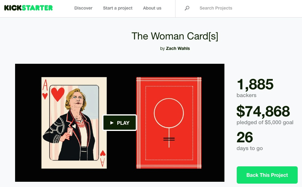 The Woman Card on Kickstarter is Awesome Newsjacking of Donald Trump