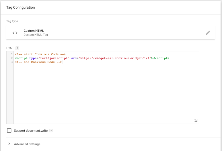 how to install Convious Tracking Snippet with GTM