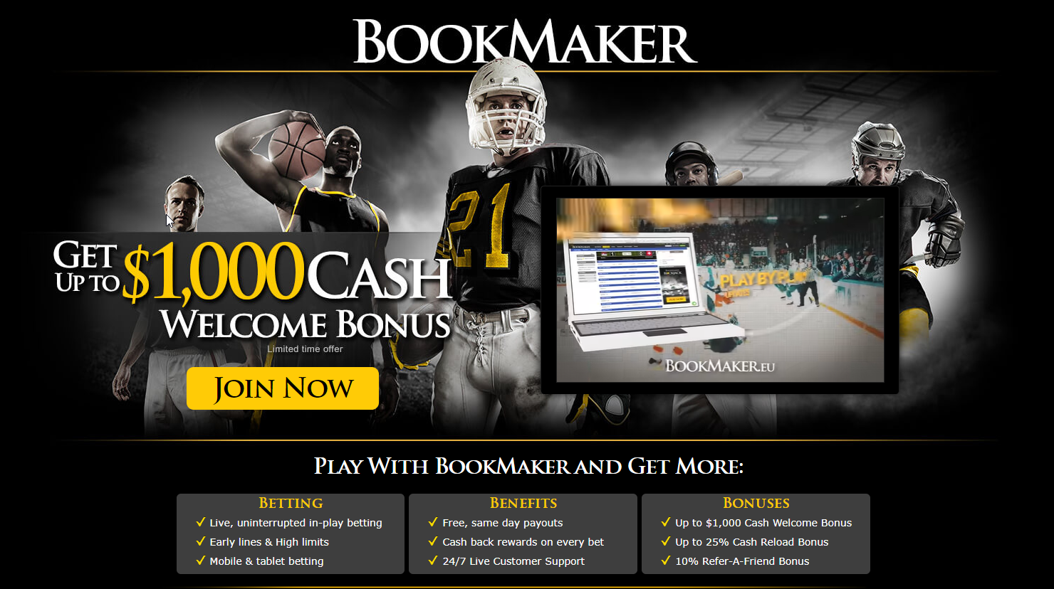 BookMaker Sportsbook Bonus [100% Cash Welcome Bonus]