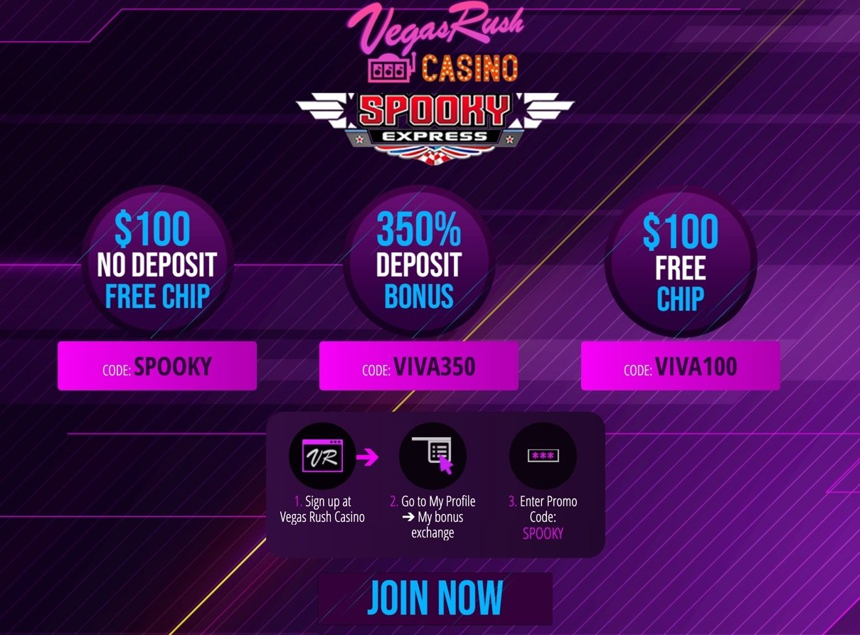 Vegas Rush Casino Bonus Code No Deposit Bonus Spooky Express