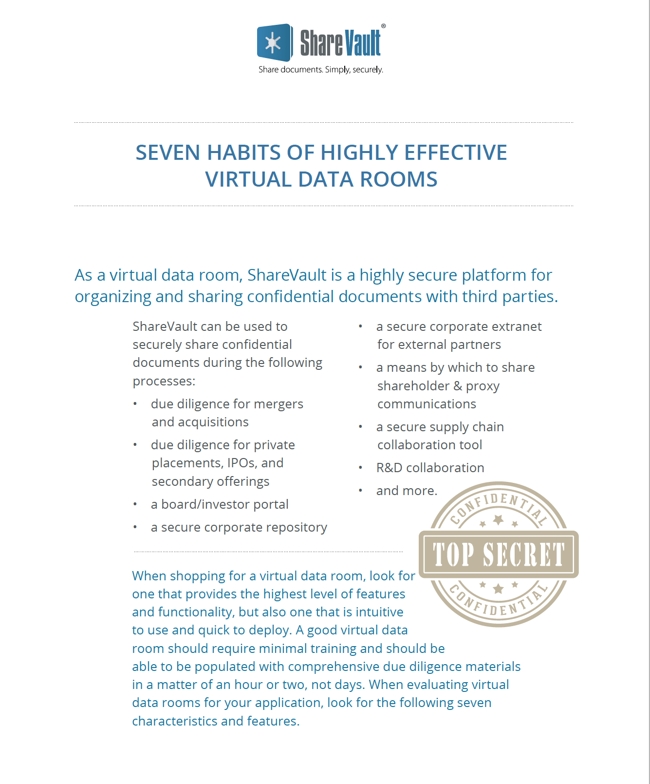 The Seven Habits of Highly Effective Data Rooms