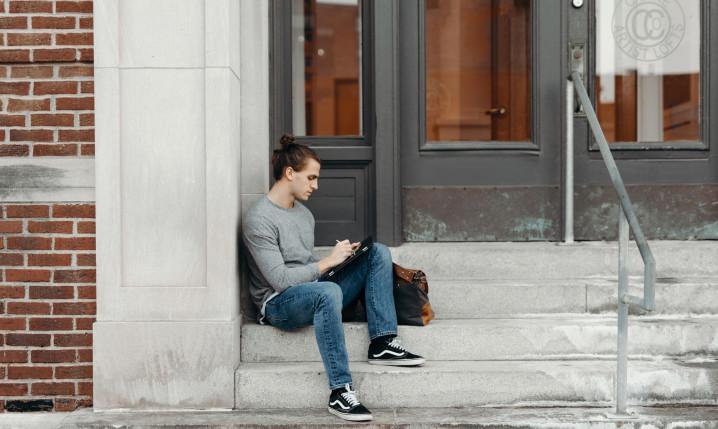 Hacker on steps