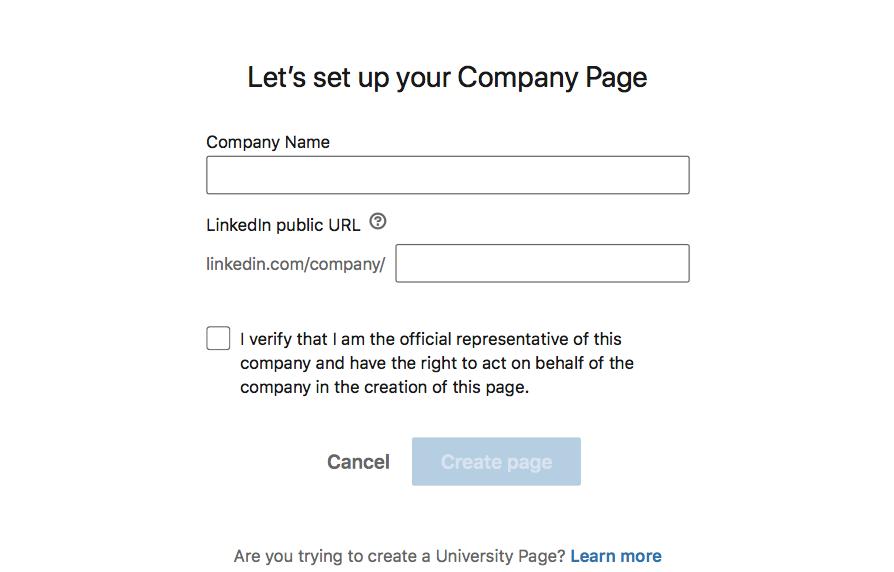 LinkedIn Company Page setup