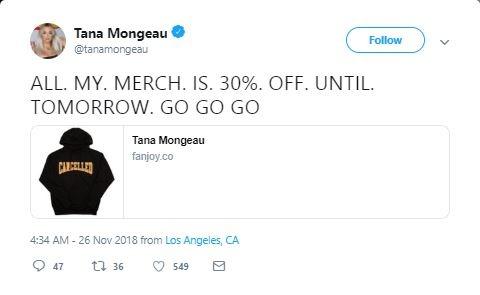 Tana Mongeau tweet