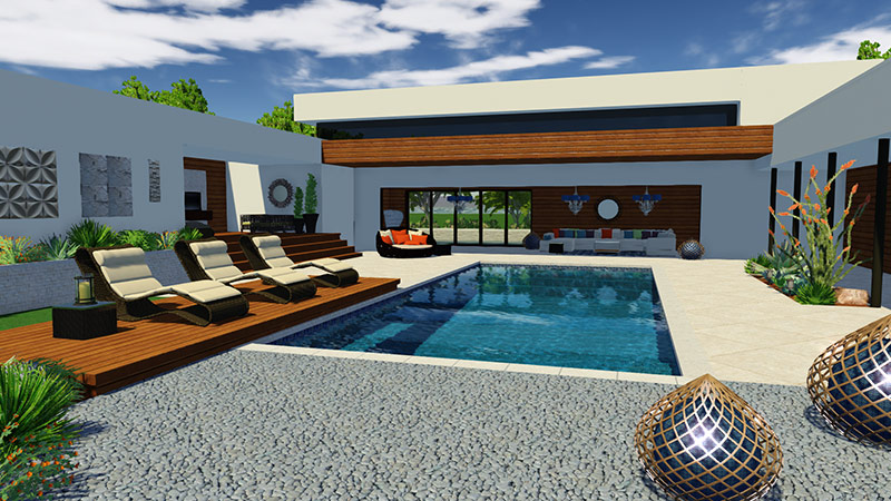 3d pool and landscaping design software features vip3d for Outdoor furniture 3d warehouse