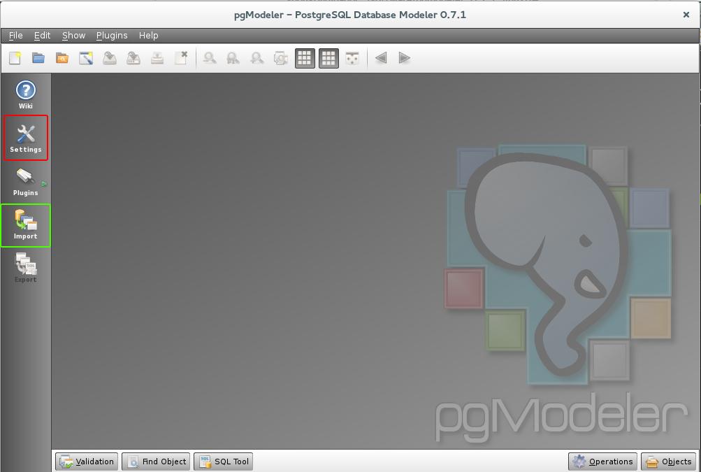 Home screen for pgModeler