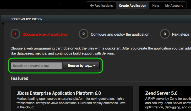 search OpenShift application type by keyword