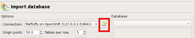 using the connection in the import dialog