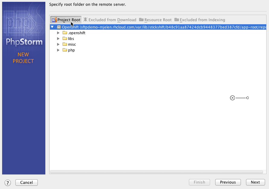OpenShift PhpStorm web server configuration screen picture