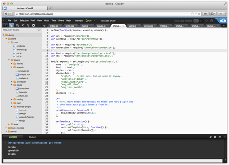 OpenShift Cloud 9 IDE screen shot image