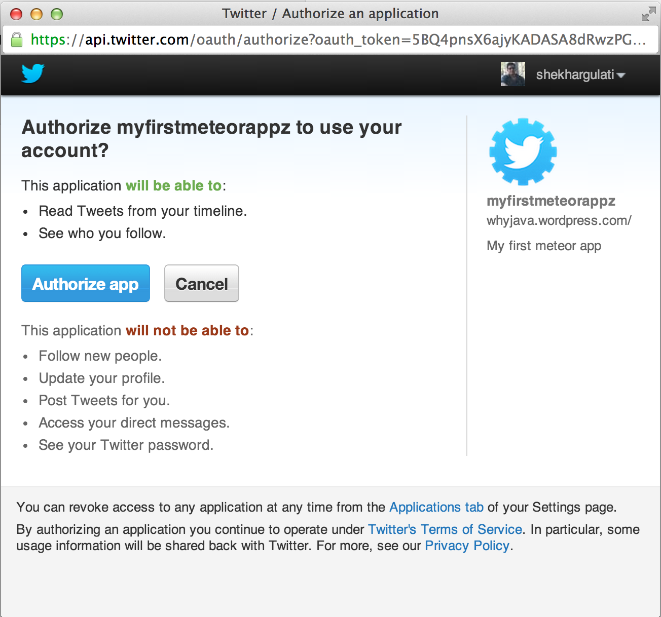 Twitter Authentication Configuration