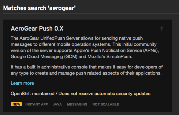 AeroGear Push Server as an OpenShift Online Cartridge