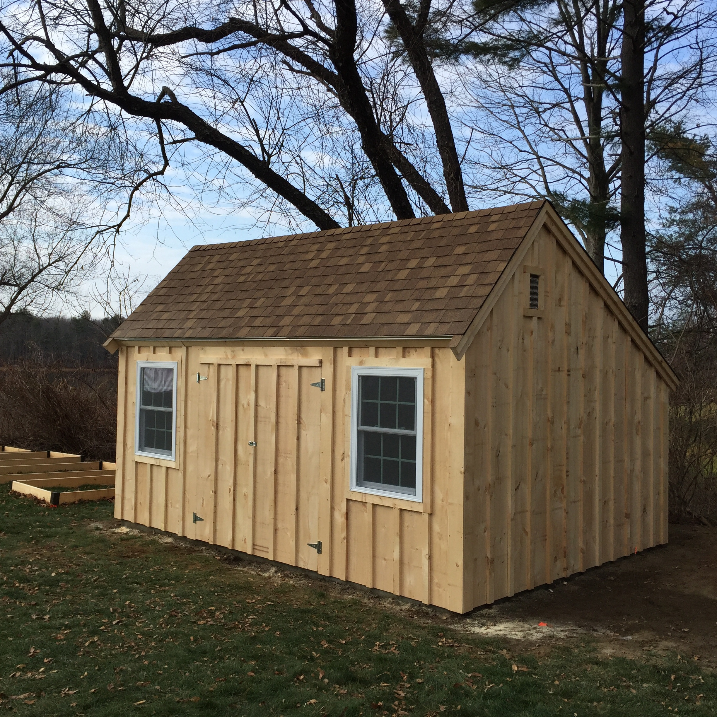 12' x 16' Saltbox w/double hung windows, double doors on a slab