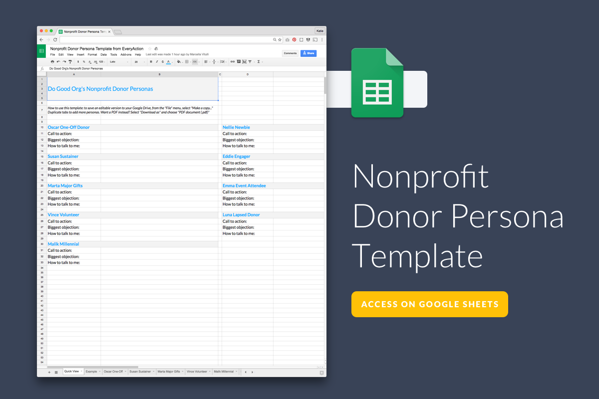 Download Nonprofit Donor Persona Template From EveryAction  Donor List Template