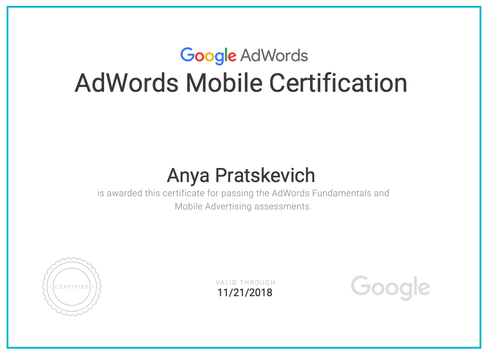 How to pass the 2018 adwords exam in 7 days while working full time adwords mobile certificate malvernweather Gallery