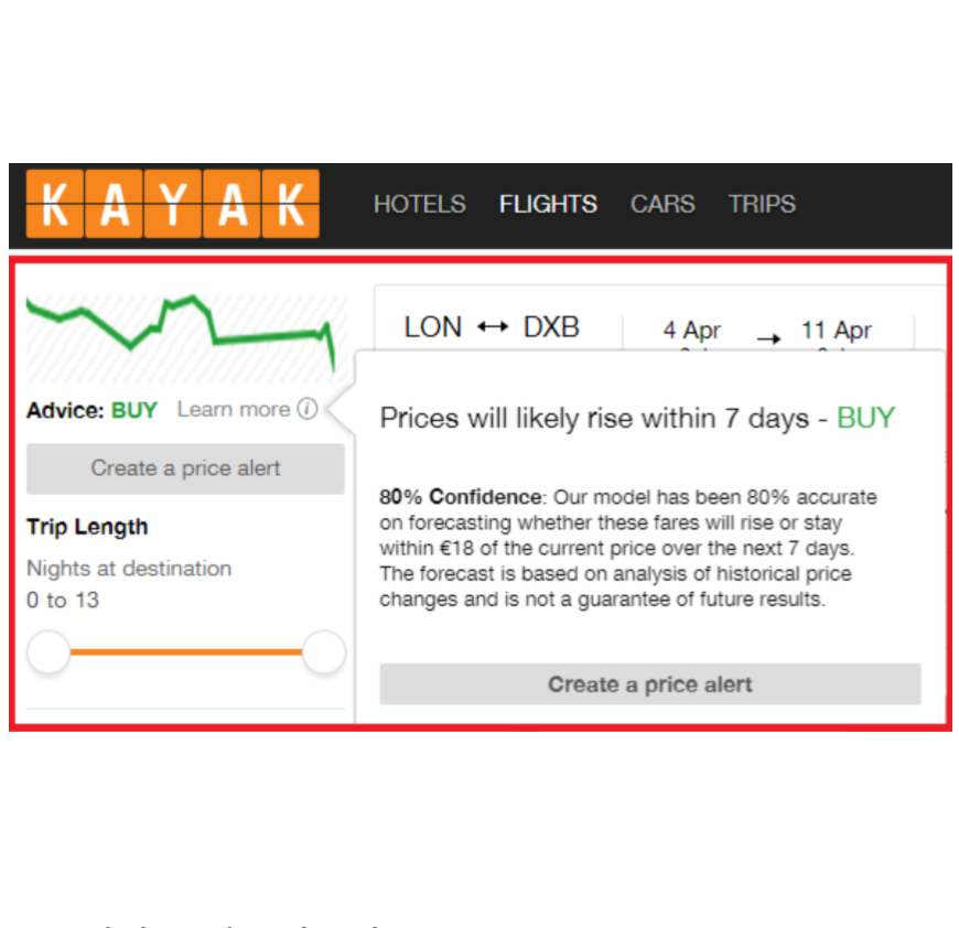 Kayak price predictions