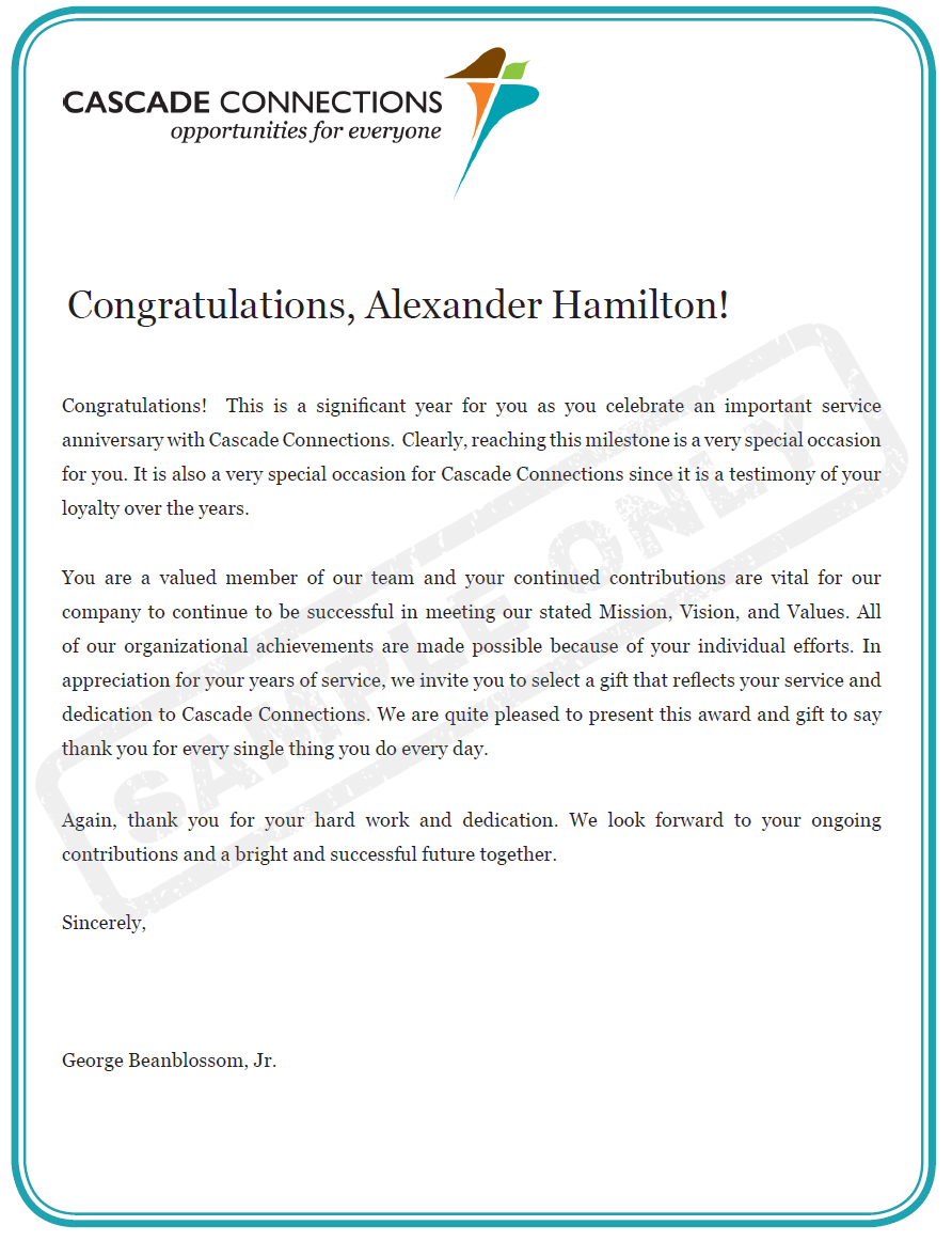 How to write an effective employee recognition letter besides laying out the specific reasons for the recognition award the customized letter needs to reinforce the positive behavior by thanking the employee spiritdancerdesigns Images