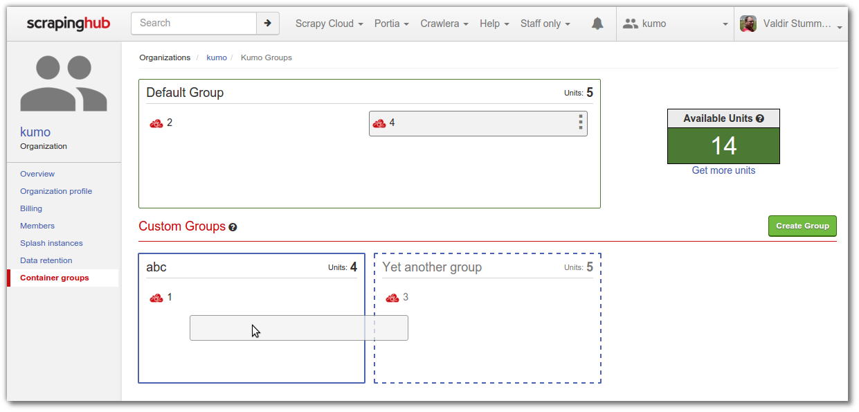 kumo organization · Kumo Groups · Scrapinghub - Google Chrome_013