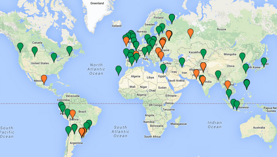 Green markers represent 2014 new hires. Click for an interactive map of our full team.