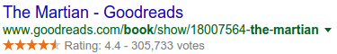 Example of a google search showing ratings for a product