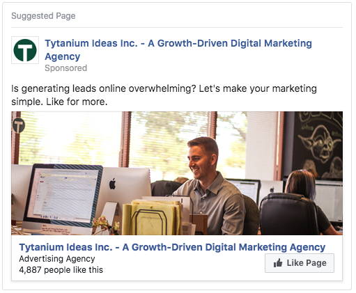 Image: screenshot of a Facebook like growth ad. Learn more about our online advertising services.
