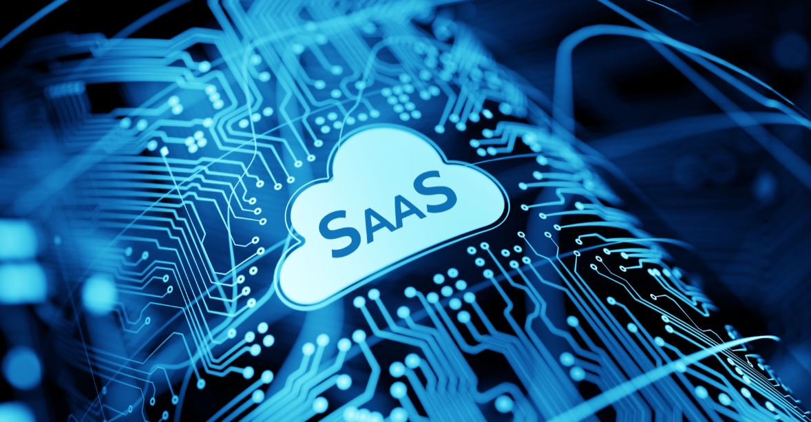 saas logo with a computer image in the background