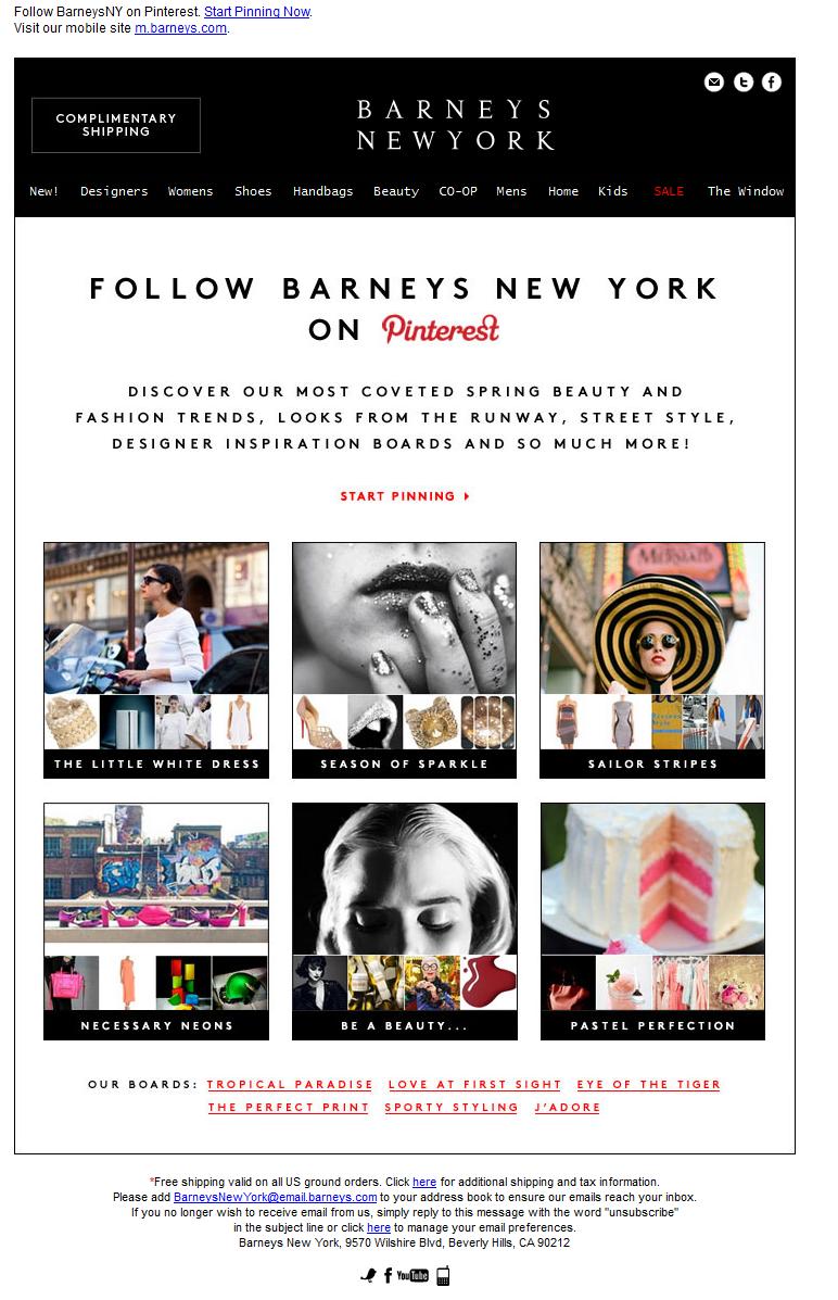 Barneys Pinterest Email